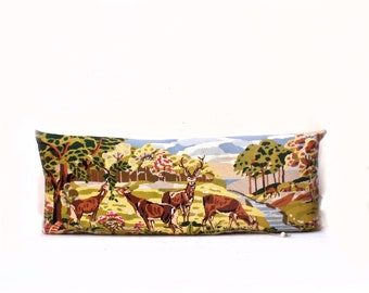 Huge Needlepoint French Tapestry Stags Deer Woodland reworked with Houles satin Cotton weave in Stone  Pillow Cushion Coussin