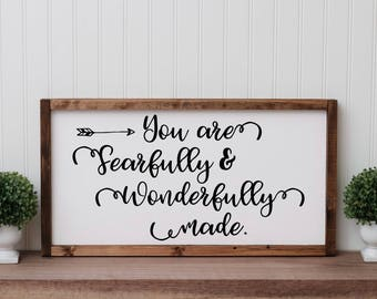 """Psalm 139:14 """"You are fearfully and wonderfully made"""" Painted Wooden Sign With Frame   Kids Room   Nursery   Wood   Bible   Gift"""