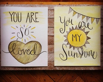 Nursery Decor yellow and gray - (2) 8x10 watercolor painting set - you are my sunshine