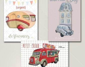 """Lot de 3 Cartes postales,  à message, """"les véhicules"""""""