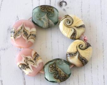 Lampwork Bead Set For Making Jewellery Pink Green Ivory Handmade Glass Beads