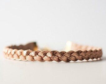 Braided Leather Choker / Necklace / Soft Copper