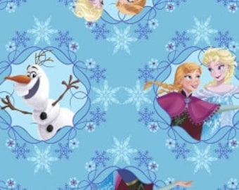 Sale - Disney's Frozen from Springs -  Full or Half Yard Anna and Elsa Skating and Olaf toss on Blue with Snowflakes