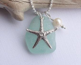 Sterling Silver STARFISH NECKLACE - Scottish Sea Glass Necklace *Silver or Leather Necklace* Seaglass from Scotland, AQUA Beach Glass Charm