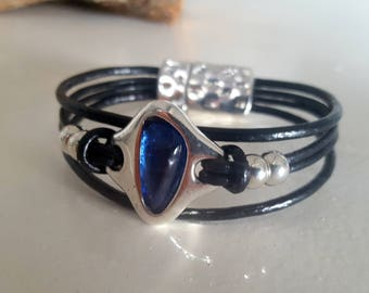 leather Bracelet, Zamak with Resin, leather Bracelet, woman leather Bracelet, multistrand,Zamak, Resin Pendant, magnetic closure