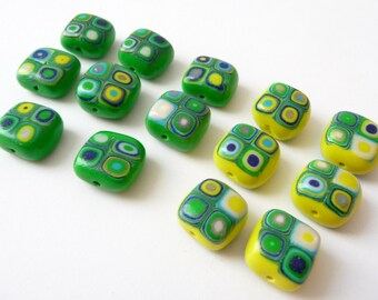 Beads Green Boho, Boho Beads Polymer, Polymer Clay Beads, Unique Polymer Beads, Beads Yellow Boho, Green Beads Yellow, Make Your Own