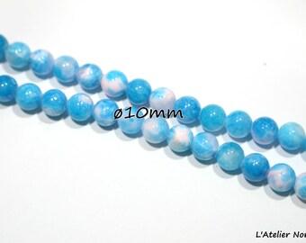 10 Blue Lagoon ø10mm Jade beads
