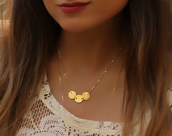 """Gold Disc necklace, Circle necklace in 14k Gold filled chain, Initial Disc Necklace, Bridesmaid Necklace, Mother's Day Gift,  """"Calypso"""""""