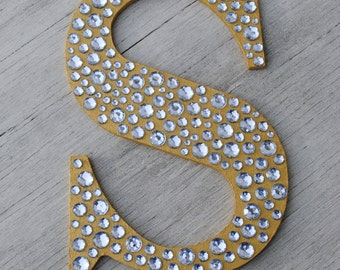 "9"" Sparkle Gold Bling Decorative Wall Letters, Wedding Decor, Girls Bedroom Decor, Nursery Wall Letters"