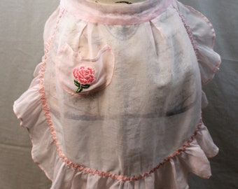 Vintage Apron - Pink Ruffle Hostess Apron - Pink Gauze - 1950s Vintage ~ Hand Stitched Flower ~ with Pocket