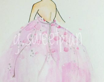Pink Gown Girl digital print