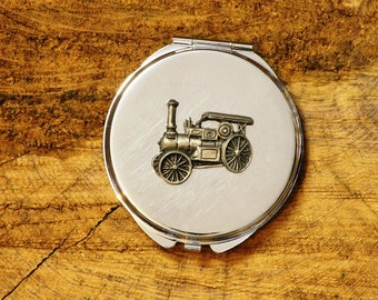 Vintage Steam Engine Design Compact Pocket Mirror Chrome Nickle Plated FREE ENGRAVING MESSAGE Ladies Farming Gift