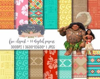 Moana digital paper, Moana Princess, Moana Maui Turtle Digital papers, Moana Theme, Vaiana digital paper, Moana Pattern, hawaiian paper