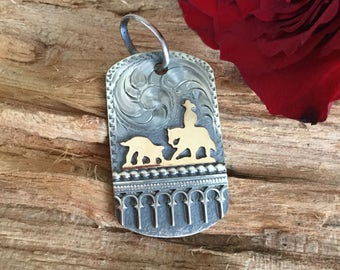 Pendent- Dog Tag/ cutting horse/ sterling silver/ Artisan Handmade/ Equestrian Jewelry/ Horse Jewelry