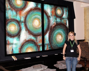 60x96 TEXTURED Abstract Painting Modern ORIGINAL Huge 5ft x 8ft Canvas Acrylic Fine Art by Maria Farias