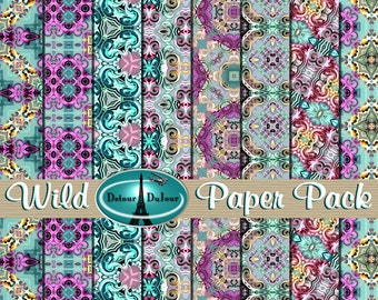 "Kaleidoscope Digital Paper Pack, 12"" Vibrant Color Origami Paper, Wild Pattern Paper, Mosaic Digital Paper, Psychedelic"