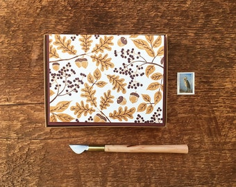 Golden Oak Leaves and Acorns, Fall Leaves, Boxed Set of 8 Letterpress Note Cards, Blank Inside