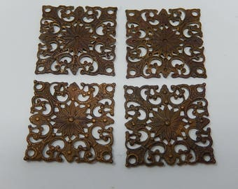 Old Lot of Four Decoration, Copper Stencil, Free Shipping!