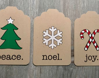 CHRISTMAS TAGS - 3 tag set - noel, joy, peace