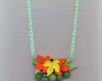 Bakelite Style Grape Necklace, Bib Necklace, Fruit& Celluloid Leaf Vintage, Statement Jewelry, Modern Bakelite Reproduction, Orange, Green