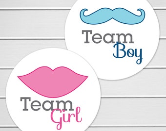 Gender Reveal Party Stickers, Team Girl Stickers, Team Boy Stickers, Reveal Party (#119)