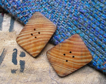 030 Two natural, middle large, fir wood buttons, handmade, one of a kind, natural brown.