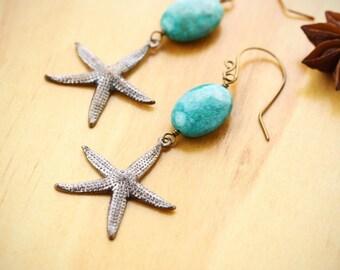 Starfish and amazonite earrings- Natural brass earrings- Starfish jewelry- Beach jewelry- Amazonite earrings- Vintage style beach jewelry
