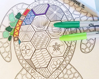 Turtle Doodle Coloring Page