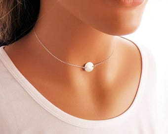 Dainty Choker, Hammered Disc Necklace, Sterling Silver, Thin Chain Necklace, Choker Necklace, Silver Choker, Layering Necklace