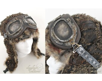 Postapocalyptic aviator goggles with grey elastic StarBand (end time glasses, fallout inspired, rusty patina)