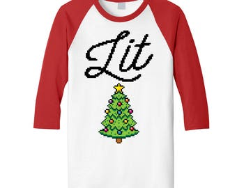 LIT Christmas Raglan with Christmas Tree. Mens / Womens Unisex Holiday Tee / Ugly Christmas Sweater / Christmas Party / Lit Christmas / Xmas