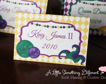Mardi Gras Themed Place Cards, Tent Cards, New Orleans, Green, Yellow, Purple, Fat Tuesday, NOLA