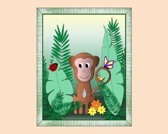 Jungle Monkey Wall Art Decor for Kids Room or Baby Nursery Gift, Print Only (JMonkey01)