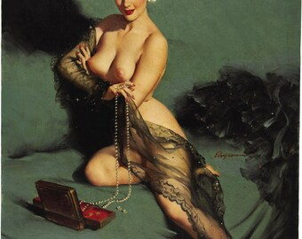 Pin Up Girl Art Print Reproduction, fascination 1952 by Gil Elvgren