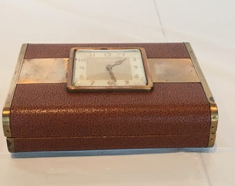 Vintage Phinney Walker Wind Up Travel Clock Jewelery/Trinket Box - FREE SHIPPING!