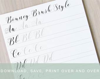Ribbony lettering worksheet learn brush lettering learn