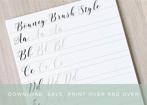 Modern brush lettering worksheet learn brush lettering learn