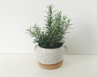 Good Listener Planter - speckled planter white glaze and little listening ears, ceramic plant pot white stoneware flower pot with drain hole