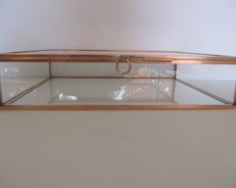 8 x 10 x 2 inch Copper and Glass Box, Keepsake Box, Photo Box, Memory Box, Jewelry Box