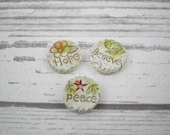 Fairy Garden Miniature Hope Peace Believe Stepping Stones Set of 3