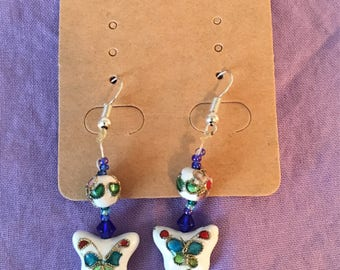 Cloisonné Butterfly Dangle Earrings
