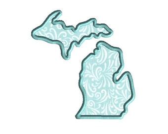Michigan State Shape Applique Machine Embroidery Design-INSTANT DOWNLOAD