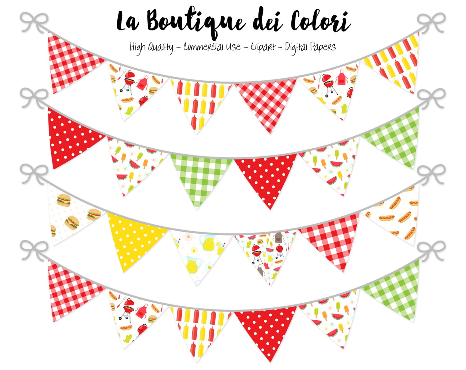 Barbecue Bunting Banners Party Flags clipart garland Summer (1500 x 1192 Pixel)