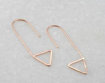 minimal triangle earrings, modern geometric threader earrings, rose gold earrings, Rachel Wilder Handmade Jewelry