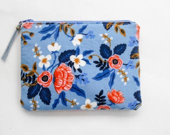 Floral Print Small Makeup Bag/ Essential Oils Case/ Travel Pouch