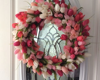 Tulip Wreath, Front Door Wreath, Spring Wreath for Door, Pink Wreath, Door Wreath Easter, Spring Wreath, Spring Tulip Wreath,