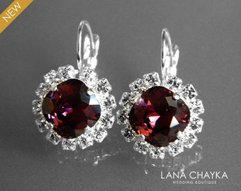 Burgundy Crystal Halo Earrings Swarovski Burgundy Wine Red Rhinestone Earrings Burgundy Leverback Wedding Earrings Bridal Bridesmaid Jewelry