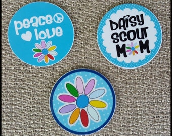 Set of 3 - 22mm Living Floating Locket Images Charm Disks -Girl Scouts Daisy