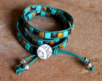 Triple Leather Wrap Bracelet in Turquoise Leather