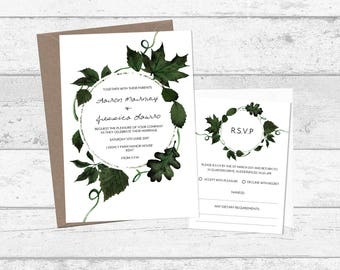 Modern Greenery Wreath Wedding Invitation and RSVP, Personalised Printed or Printable, Forest Emerald Green Botanical Wedding Invitation